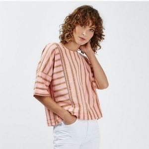 TopShop Pink Striped Linen Boxy Button Back Top